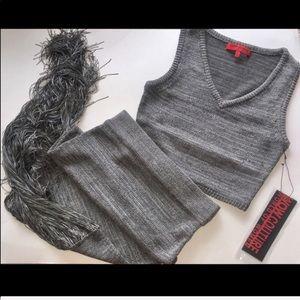 Callie Fringe Knit Maxi Skirt Set Silver Crop Top